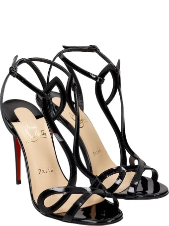 Christian Louboutin Double L Sandals In Black Patent Leather