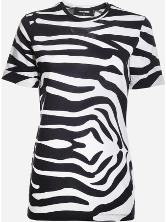 Dsquared2 Cotton T-shirt With Zebra Print