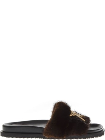 Emanuela Caruso Embellished Brown Mink Sandals