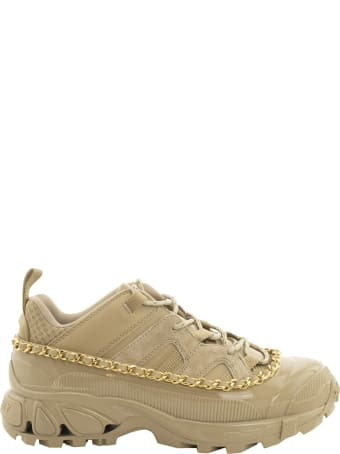 Burberry Chain Detail Suede And Leather Arthur Sneakers