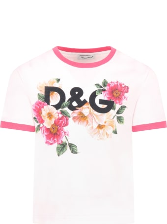Dolce & Gabbana Pink T-shirt For Girl With Camellias