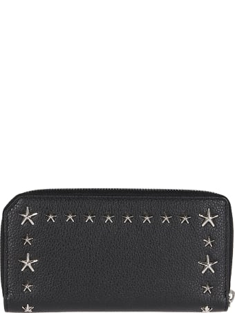 Jimmy Choo Black Leather Carnaby Travel Wallet