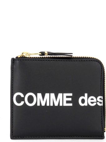 Comme des Garçons Wallet Huge Wallet Logo In Black Leather With L Closure