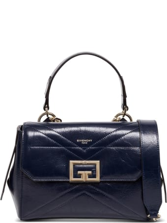 Givenchy Id Flap Small Handbag In Blue Leather