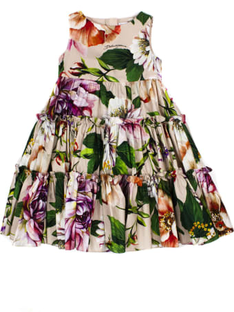 Dolce & Gabbana Long Poplin Dress With Floral Print
