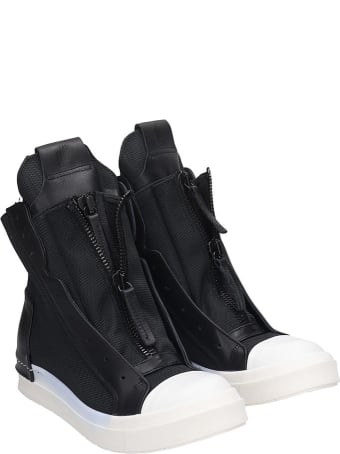 Cinzia Araia Sneakers In Black Leather And Fabric