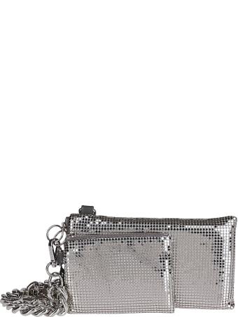 Kara Silver-tone Leather Chain Mail Lanyard Pouch
