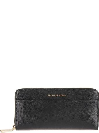 Michael Kors Logo Plaque Zip Around Wallet