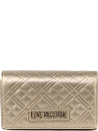 Love Moschino Gold Quilted Synthetic Bag
