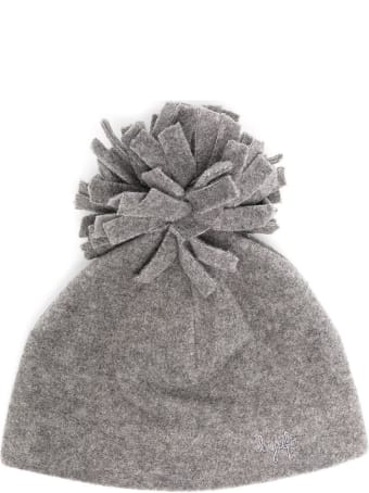 Il Gufo Gray Cap With Pom Pon Detail