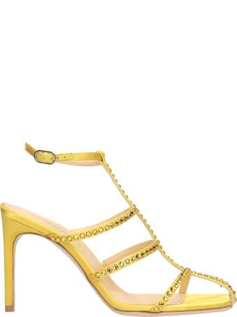 Giannico Kaya Sandals In Yellow Satin