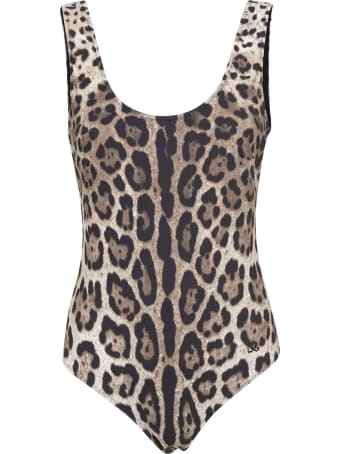 Dolce & Gabbana Slim Fit Animal Print Swimsuit
