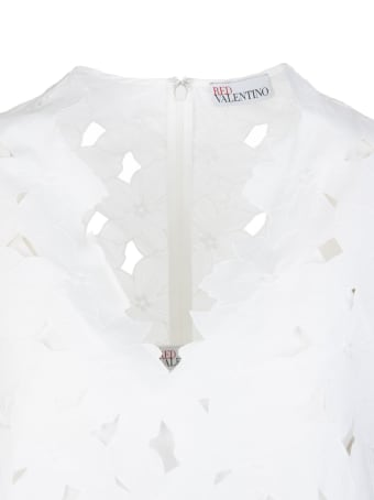 RED Valentino White Short Dress Woman With Cut-out Flowers