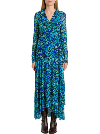 Ganni Wraped Dress With Floral Motif