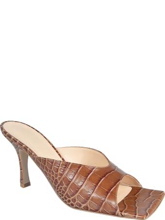 A.W.A.K.E. Mode Cutout Croc-effect Leather Mules