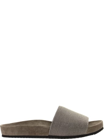 Brunello Cucinelli Precious Slides Silver