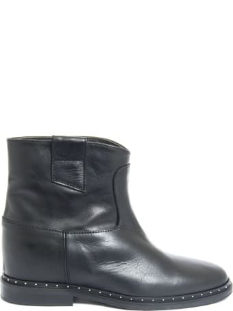 Via Roma 15 Ankle Boot In Black Leather