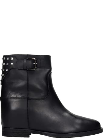 Via Roma 15 Ankel Boots Inside Wedge In Black Leather