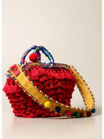 Sikuly Handbag Red Melania Sikuly Coffa Bag With Multi Tassels