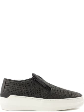 Giuseppe Zanotti Slip-ons In Black Woven-print Leather