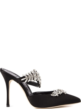 Manolo Blahnik Lurum Black Satin Mules With Swarovski