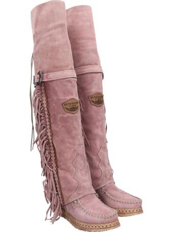 El Vaquero Coleen Low Heels Boots In Rose-pink Suede