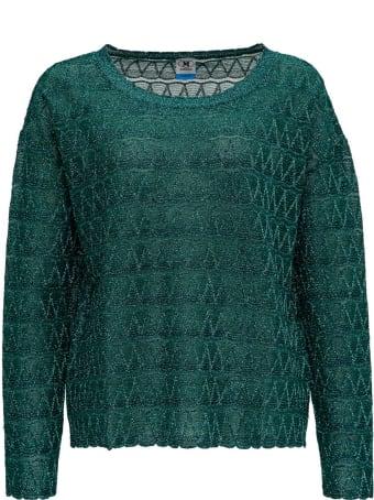 M Missoni Lurex Knit Blouse With Chevron Pattern