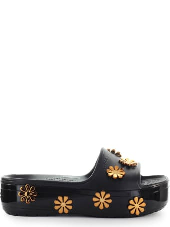 Crocs Metallic Blooms Black Platform Slide
