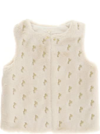 Chloé Allover Horses Embroidery Vest In Faux Fur