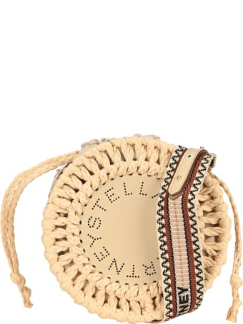 Stella McCartney Stella Logo Straw Shoulder Bag