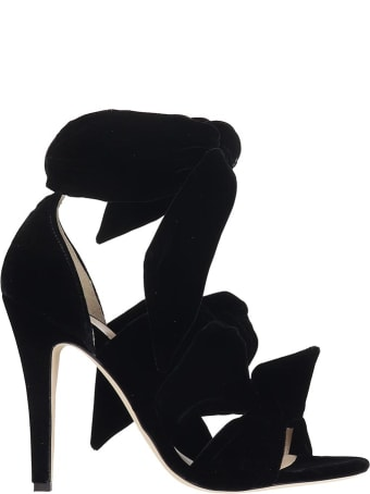 GIA COUTURE Sandals In Black Velvet