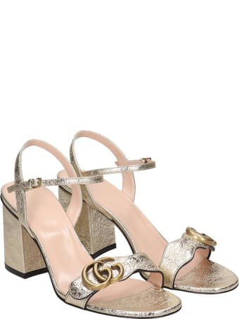 Gucci Sandals In Gold Leather