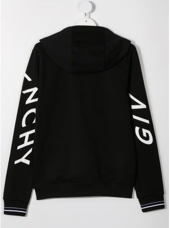 Givenchy Black Jersey Hoodie With Logo Print