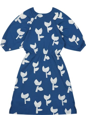 Bobo Choses Blue Dress For Girl With Poppies