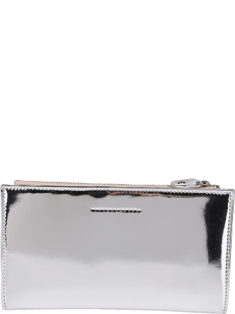 MM6 Maison Margiela Silver-tone And Nude Leather Wallet
