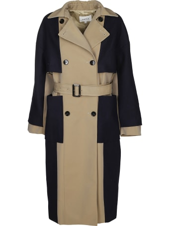 Enföld Contrast Double-breasted Coat