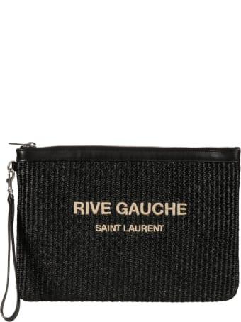 Saint Laurent Top Zip Knit Logo Clutch