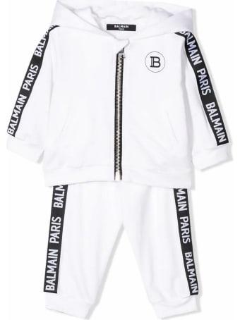 Balmain White And Black Cotton Tracksuit