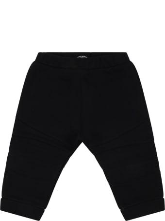 Balmain Black Sweatpants For Kids With Logo