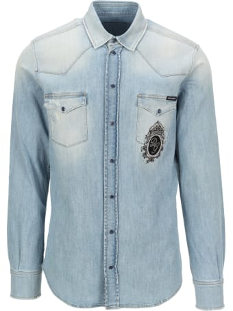 Dolce & Gabbana Dolce&gabbana Embroidered Logo Denim Shirt