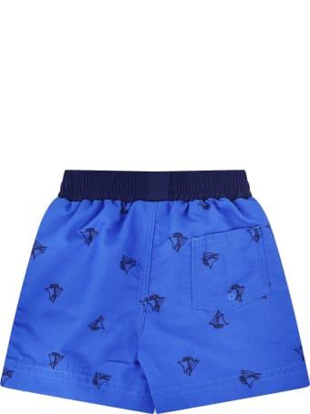 Petit Bateau Blue Swimwear With Black Boats