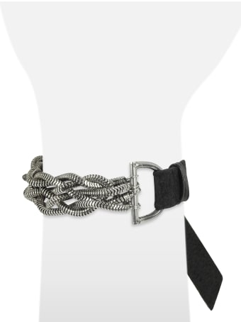 GIACOMOBURRONI Giacomo Burroni Leather Bracelet W/silver Braid