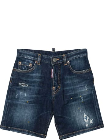 Dsquared2 Blue Denim Shorts Teen Dsquared2 K