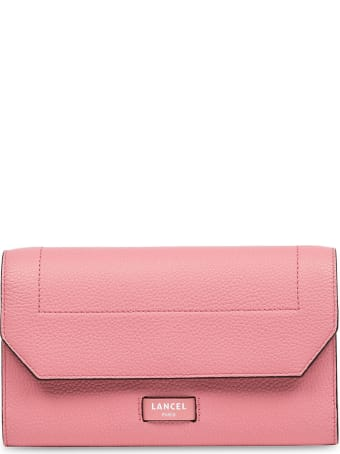 Lancel Pink Leather Chain Wallet