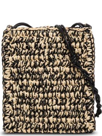 Jil Sander Tangle Sm Crossbody Bag In Beige And Black Rafia