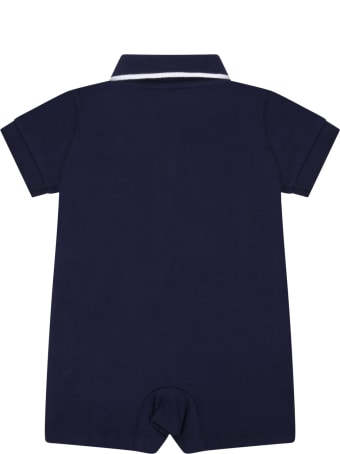 Ralph Lauren Blue Rompers For Babyboy With Pony Logo