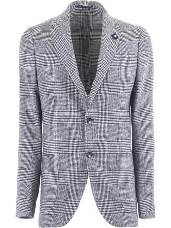 Lardini Grey Check Wool Blend Single Breasted Blazer