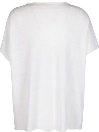 Ma'ry'ya White Cotton-linen Blend T-shirt