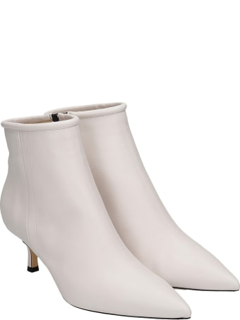 Fabio Rusconi Low Heels Ankle Boots In Beige Leather