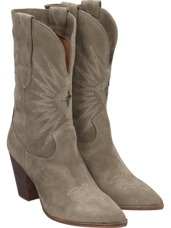 Julie Dee Texan Ankle Boots In Taupe Leather